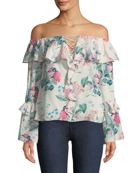 Erin Off-the-Shoulder Floral-Print Silk Blouse