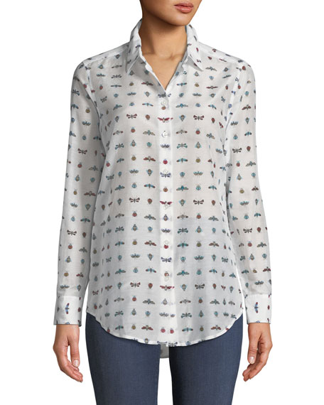 Essentials Insect-Print Cotton/Silk Shirt