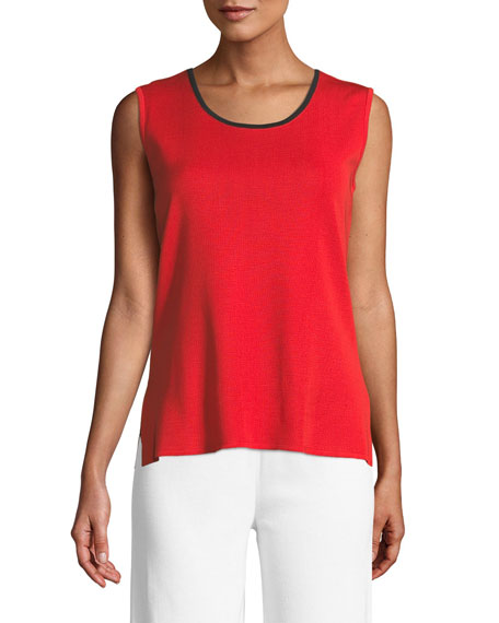 Scoop-Neck Tank w/ Contrast Trim, Plus Size