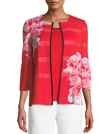 Placed Floral 3/4-Sleeve Jacket, Plus Size
