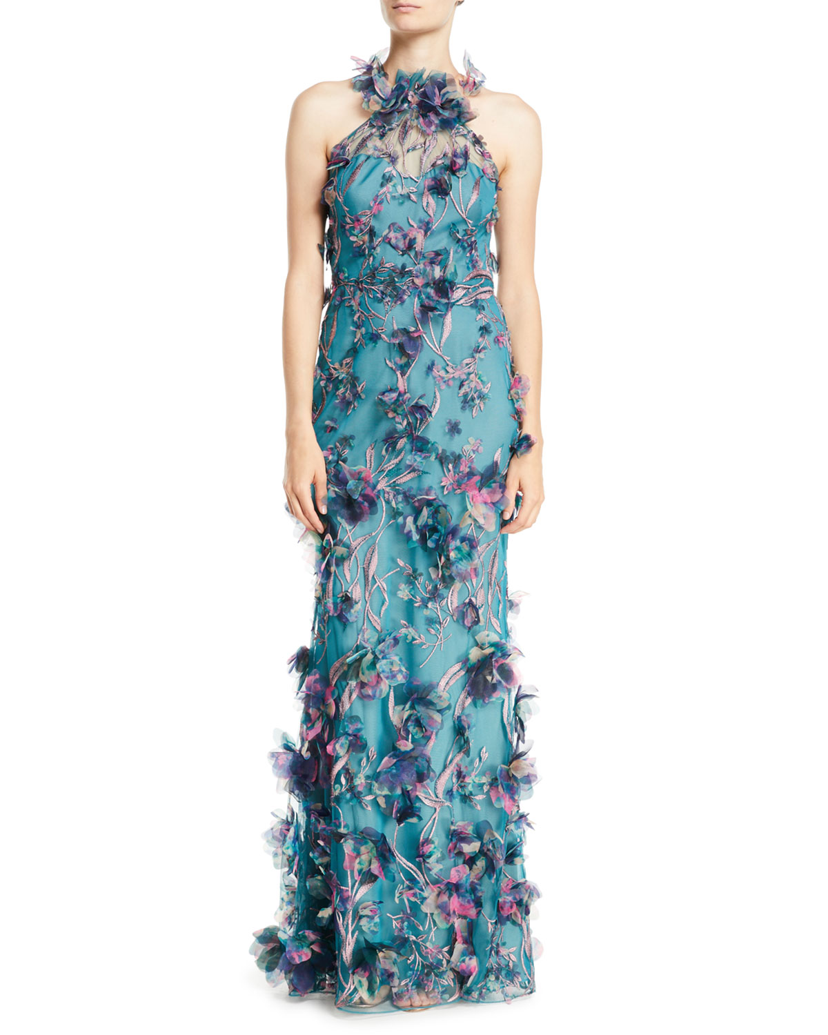 Marchesa Notte 3D Floral Halter Gown with Embroidery | Neiman Marcus