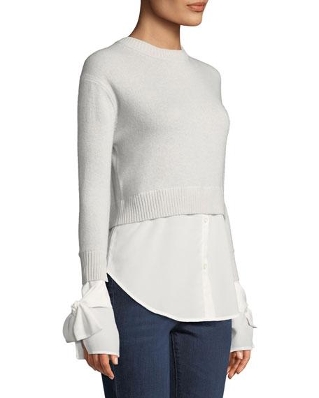 Cashmere Georgette-Trim Crewneck Sweater