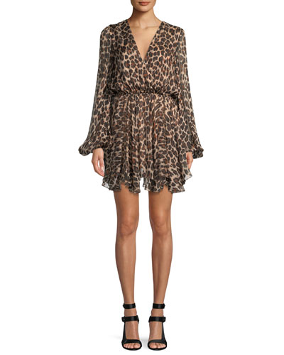 Olena Leopard-Print Silk Mini Dress
