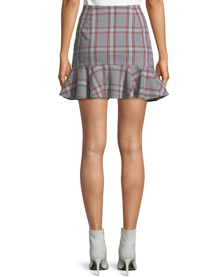 Veronica Beard Draped Flounce Picnic Plaid Mini Skirt