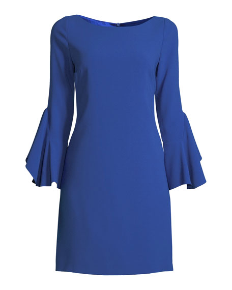 Elie Tahari Dori Boat-Neck Flared-Sleeve Crepe A-Line Dress
