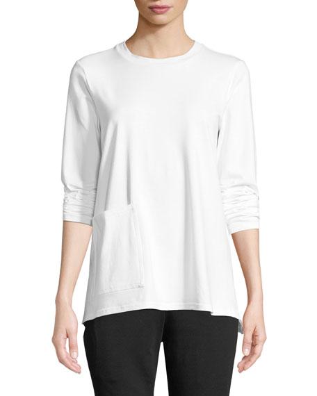 Eileen Fisher Organic Cotton Jersey Pocket Top, Petite