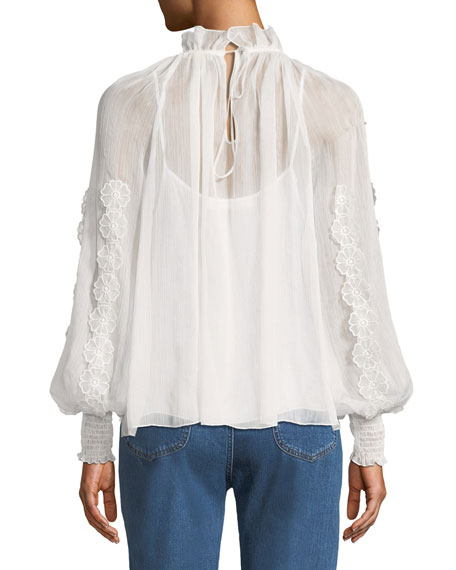 V-Neck Floral Cutout Long-Sleeve Blouse