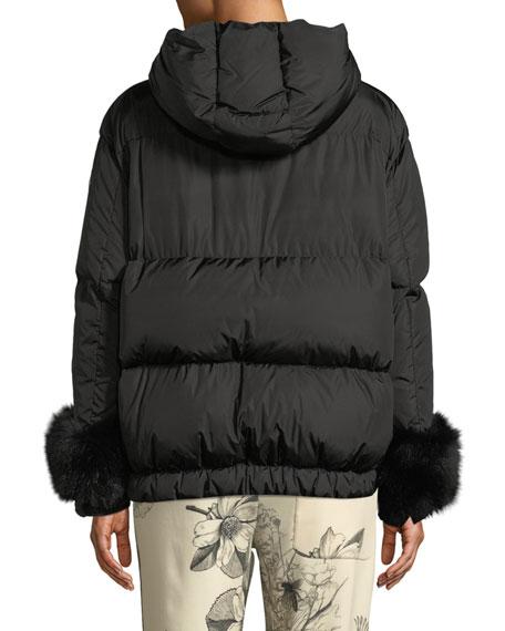 Moncler Effraie Hooded Fur-Cuff Jacket