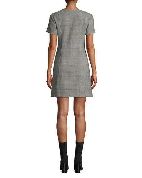 Theory Easy Snap-Front Windowpane Shift Dress