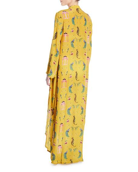 Boho Luxe Open-Front Hand-Beaded Long Kimono