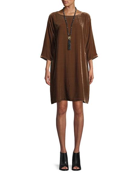 Eileen Fisher Petite Short Velvet Shift Dress