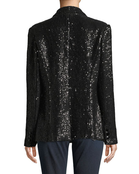 Berek Plus Size Two-Button Notch-Lapel Sequined Blazer