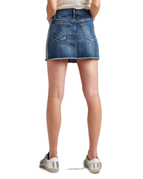 Viper Studded Raw-Edge Denim Mini Skirt