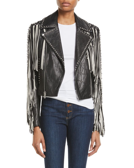 Alice + Olivia Cody Fringe Leather Moto Jacket