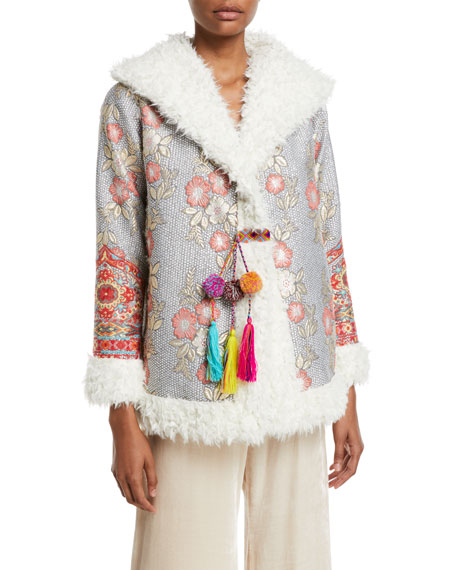 Image 3 of 4: Johnny Was Plus Size Quarda Embroidered Faux-Fur Coat