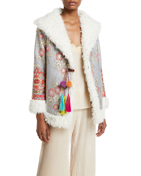 Image 1 of 4: Johnny Was Plus Size Quarda Embroidered Faux-Fur Coat
