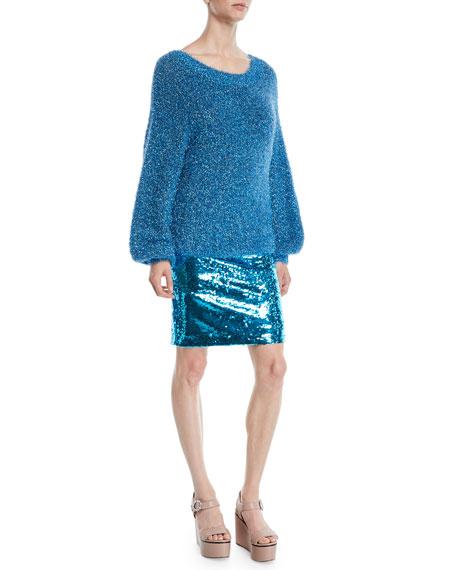Alice + Olivia Lisha Boat-Neck Blouson-Sleeve Pullover