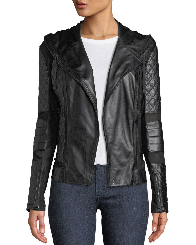 58053417a704 Blanc Noir Voyage Hooded Diamond-Stitch Lace-Up Leather Moto Jacket ...