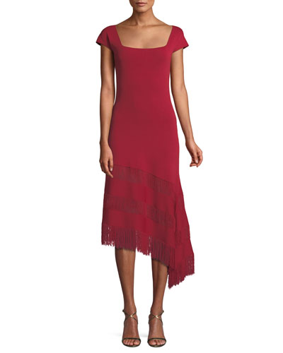 Sheryl Knit Dress w/ Asymmetric Fringe Ruffles