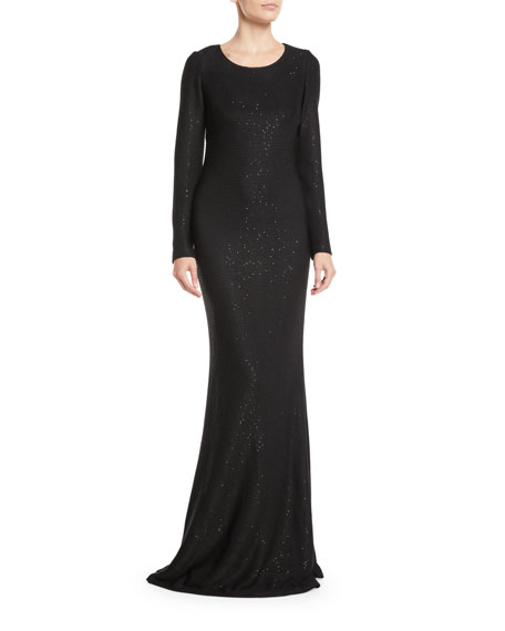 St. John Collection Long-Sleeve Cross-Back Links Sequin Knit Evening Gown