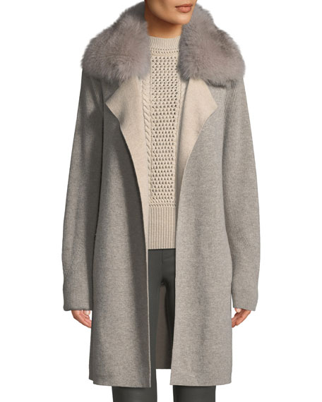 Image 1 of 3: Cashmere Double-Face Coat w/ Fur Collar