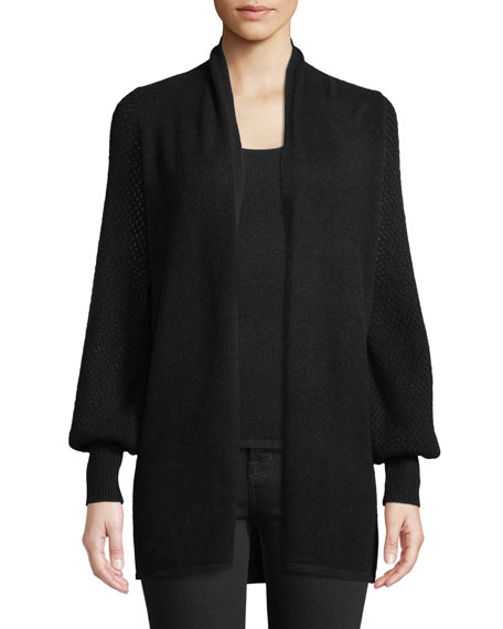Neiman Marcus Cashmere Collection Cashmere Mesh Blouson-Sleeve