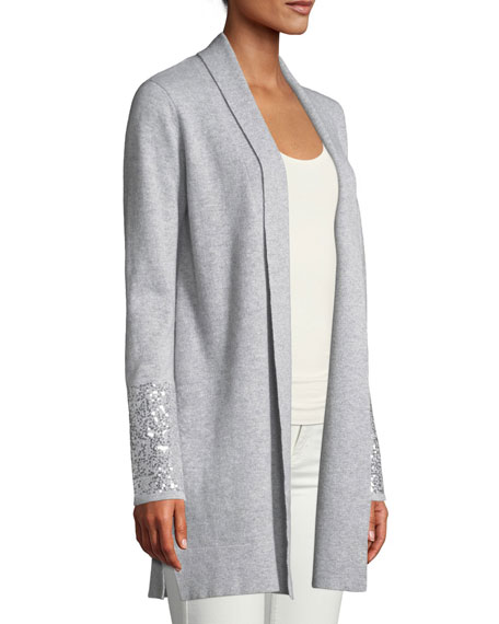 Sequin Cuff Open-Front Cashmere Cardigan
