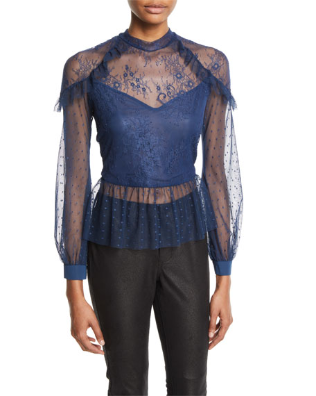 Bardot Splice Semisheer Mixed Lace Blouse