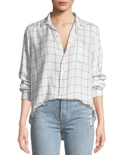 Eileen Long-Sleeve Button-Front Windowpane Check-Print Modal Shirt