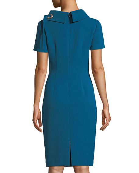 Tie-Neck Short-Sleeve Sheath Dress