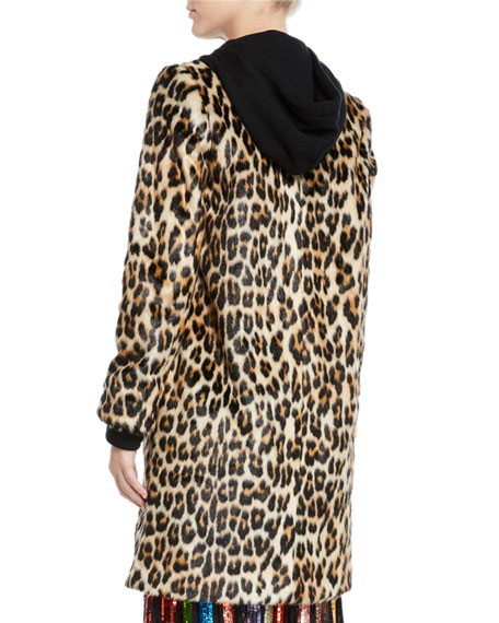 Kylie Hoodie Long Leopard Faux-Fur Coat