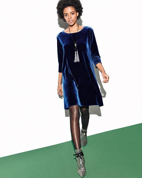 Caroline Rose Round-Neck 3/4-Sleeve A-Line Stretch-Velvet Dress
