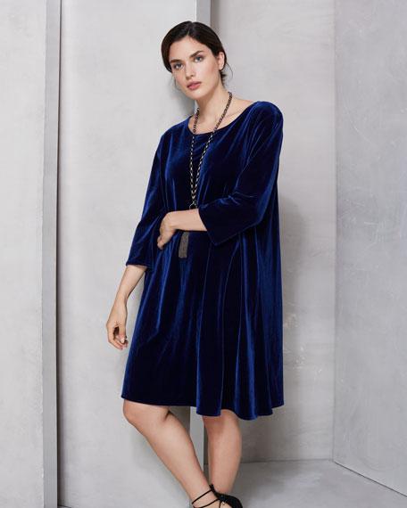 Caroline Rose Plus Size Round-Neck 3/4-Sleeve A-Line Stretch-Velvet Dress