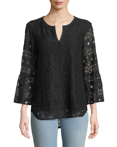 Belle Chenille Lace 3/4-Sleeve Top
