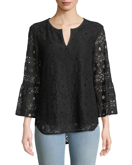Finley BELLE CHENILLE LACE 3/4-SLEEVE TOP