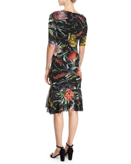 Fuzzi Botanical Floral Ruffle-Hem Dress