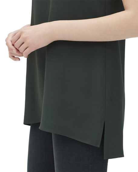 Lafayette 148 New York Ruthie Sleeveless High-Low Hem Silk Blouse