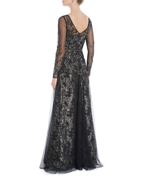 Theia Beaded Long-Sleeve Tulle Ball Gown