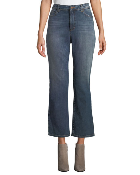 Eileen Fisher High-Waist Boot-Cut Organic Cotton Denim Jeans