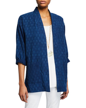 f4697b739c94a Eileen Fisher Block-Print Open-Front Organic Cotton Kimono Jacket
