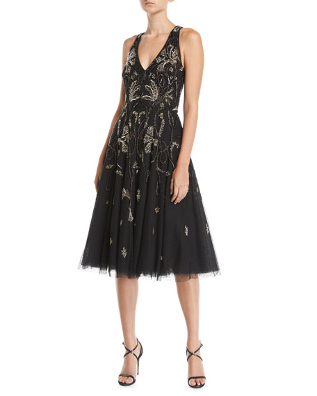 Aidan Mattox Point d'Esprit Sleeveless Midi Dress