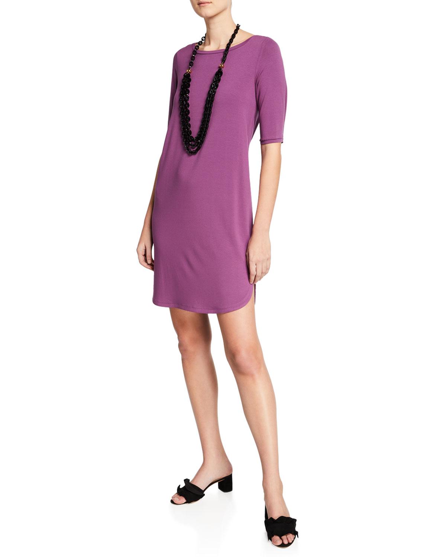 Plus Size Elbow-Sleeve Shirttail-Hem Jersey Dress