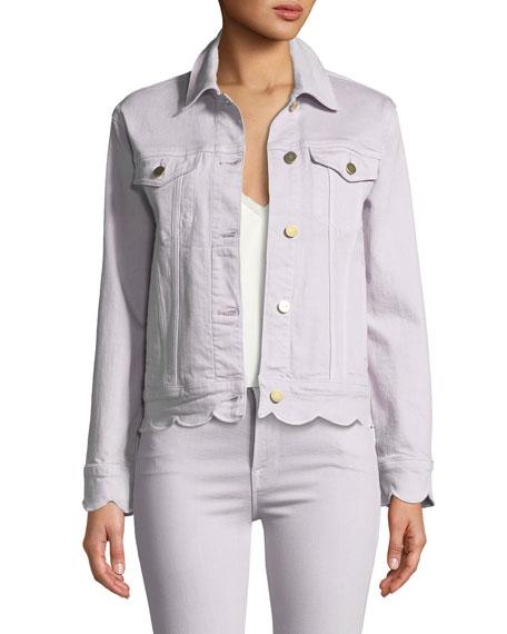 FRAME Scalloped-Edge Button-Front Denim Jacket