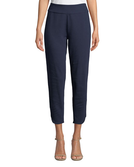 Joan Vass Plus Size Stretch-Interlock Cropped Pants with
