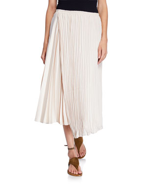 eac89830c Vince Mixed-Pleat Asymmetric Maxi Skirt