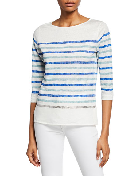 Majestic Paris for Neiman Marcus Two-Tone Striped Boat-Neck 3/4-Sleeve Stretch-Linen Tee