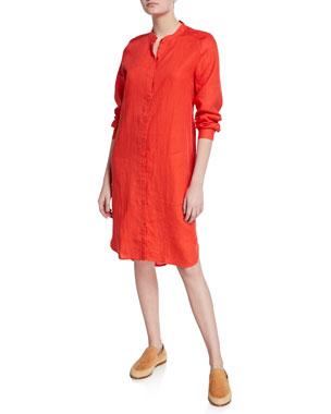 edb4616fc36 Eileen Fisher Mandarin Collar Long-Sleeve Organic Linen Shirtdress