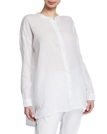 Eileen Fisher Band-Collar Button-Down Long-Sleeve Handkerchief