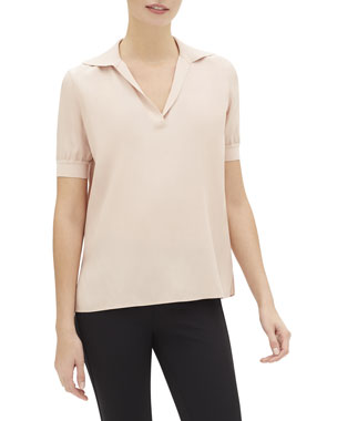 2e543260216 Lafayette 148 New York Winifred Short-Sleeve Matte Silk Blouse