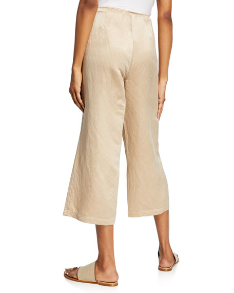 Image 2 of 3: Eileen Fisher Linen/Silk Wide-Leg Crop Pants